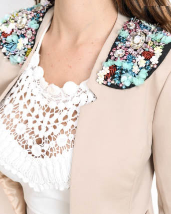 Jewel Embellished Blazer - Taupe