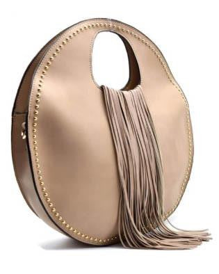 Circle Purse With Studs And Fringe