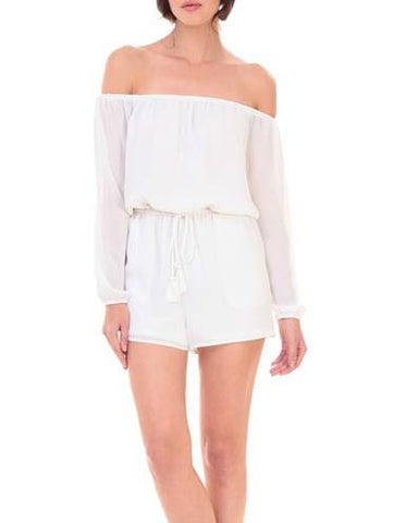 Ivory Off-The-Shoulder Drawstring Waist Romper