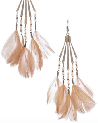 Beaded Feather Drop Earrings - Roehampton Road