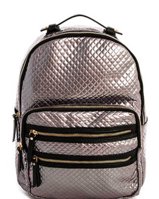 Metallic Pewter Double Zipper Backpack
