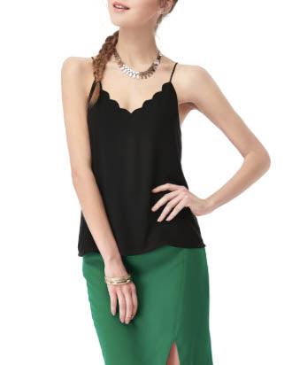 NAKED ZEBRA Multi-Strap Scallop V-Neck Top - Black