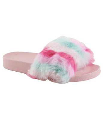 Cotton Candy Faux Fur Slides