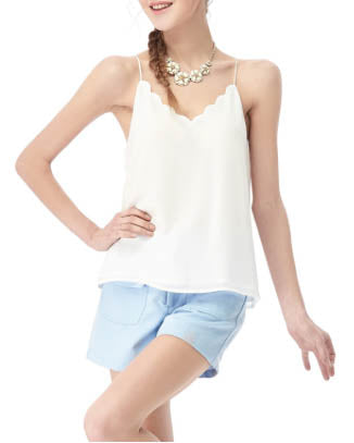 Multi-Strap Scallop V-Neck Top - White