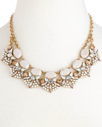Ornate Mixed Cream Stone Necklace