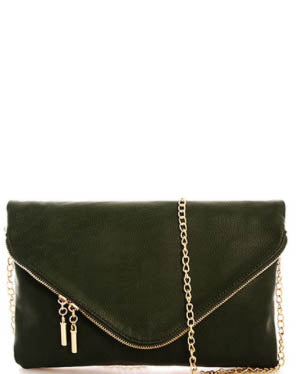 Vegan Leather Envelope Clutch With Detachable Chain - Olive