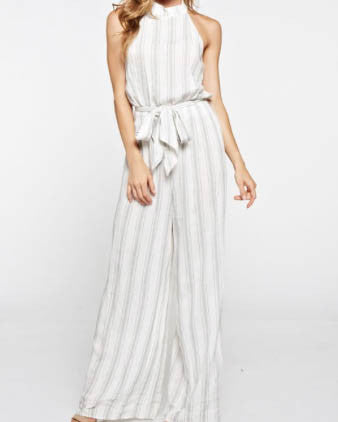 Striped Mock Neck Jumpsuit With Drawstring Waist