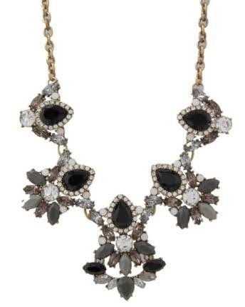 Sparkling Pave Cluster Necklace - Black