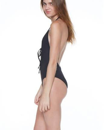 Dippin' Daisy's Black Front Lace-Up One-Piece Swimsuit