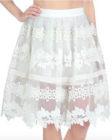White Sheer Lace Midi Skirt