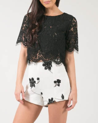 Floral Lace Crop Top - Black