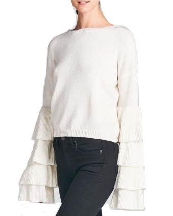 Layered Bell Sleeve Knitted Sweater