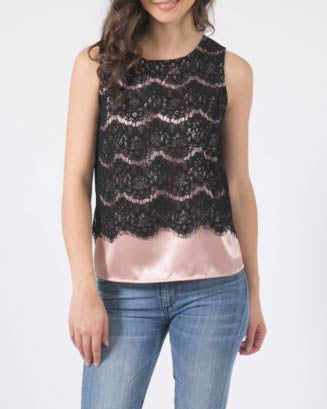 Black Lace Top With Blush Underlay