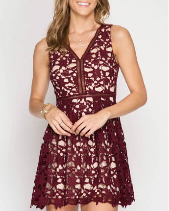 Sleeveless Fit And Flare Crochet Dress - Burgundy