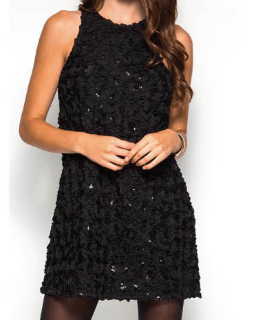 Floral Textured Sequin Shift Dress