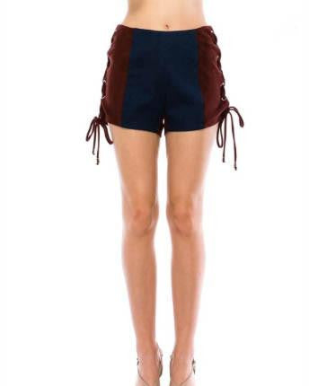 High Waisted Faux Suede Shorts With Tie Up Sides