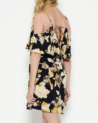 Black And Yellow Floral Cold Shoulder Dress