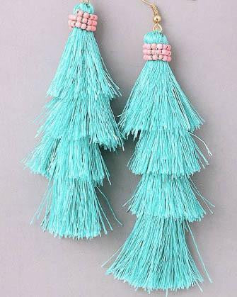 Layered Tassel And Bead Earrings - Mint