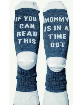 If You Can Read This Mommy Is In A Time Out Crew Socks - Grey