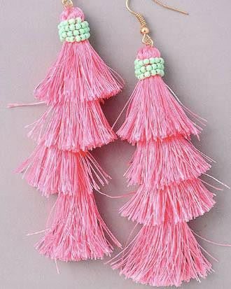 Layered Tassel And Bead Earrings - Pink