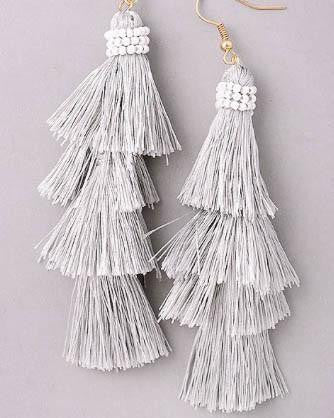 Layered Tassel And Bead Earrings - Grey
