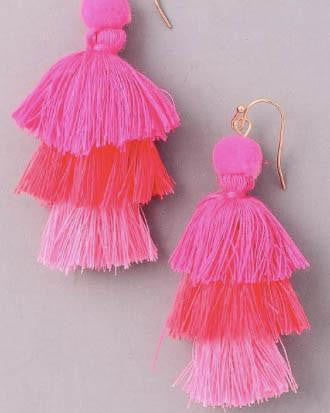 Layered Colored Tassel Earrings - Pink