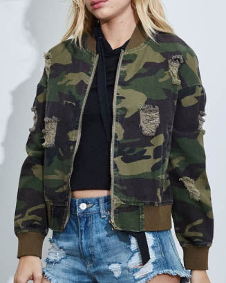 Distressed Camo Bomber Jacket