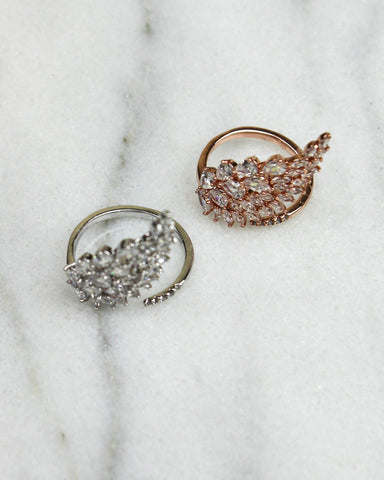 Angel Wing Crystal Wrap Ring - Rose Gold