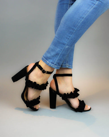 Black Open Toe Pump With Ruffle Details
