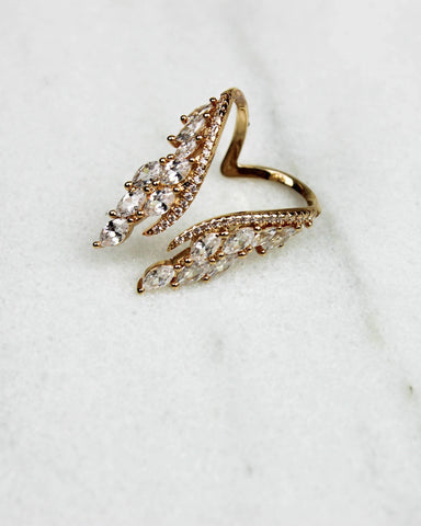Double Wing Crystal Wrap Ring