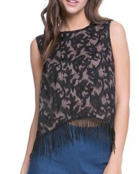 Black Floral Mesh Top With Fringe Detail