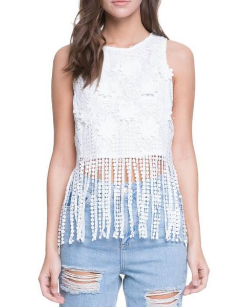 White Floral Lace Top With Fringe Hem