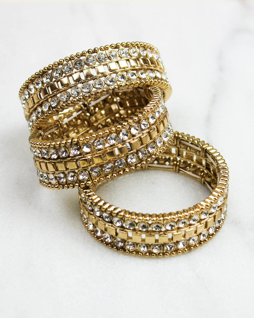 Gold and Crystal Thick Elastic Bracelet - Clear