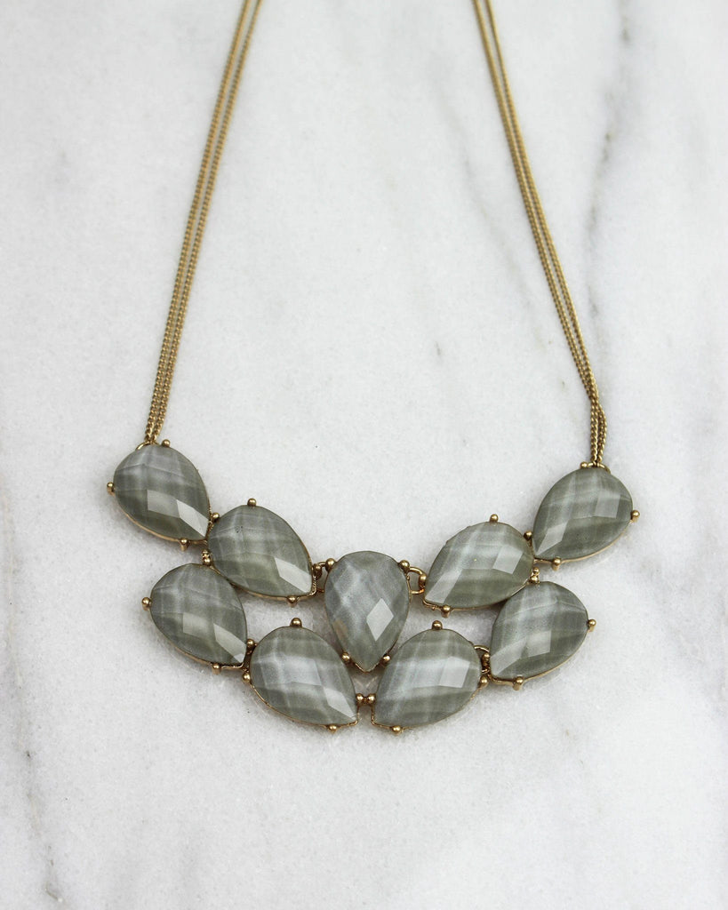 Bunched Teardrop Statement Necklace