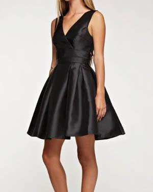 Black Structured Pleated Baby Doll Dress