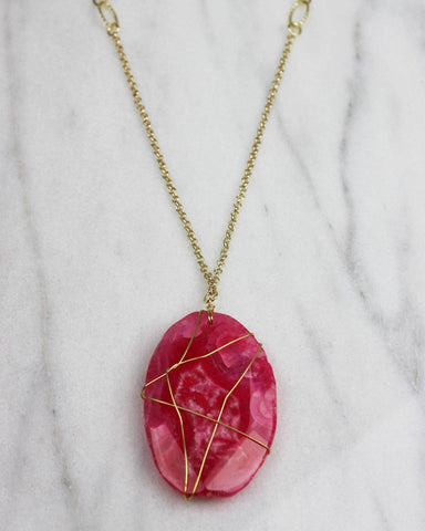 Magenta Stone Wrapped Pendant Necklace