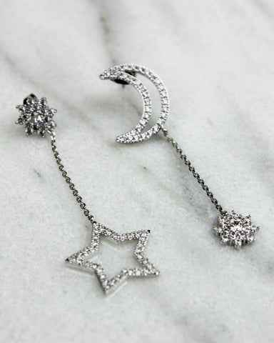 Silver Crystal Moon and Star Mismatch Earrings