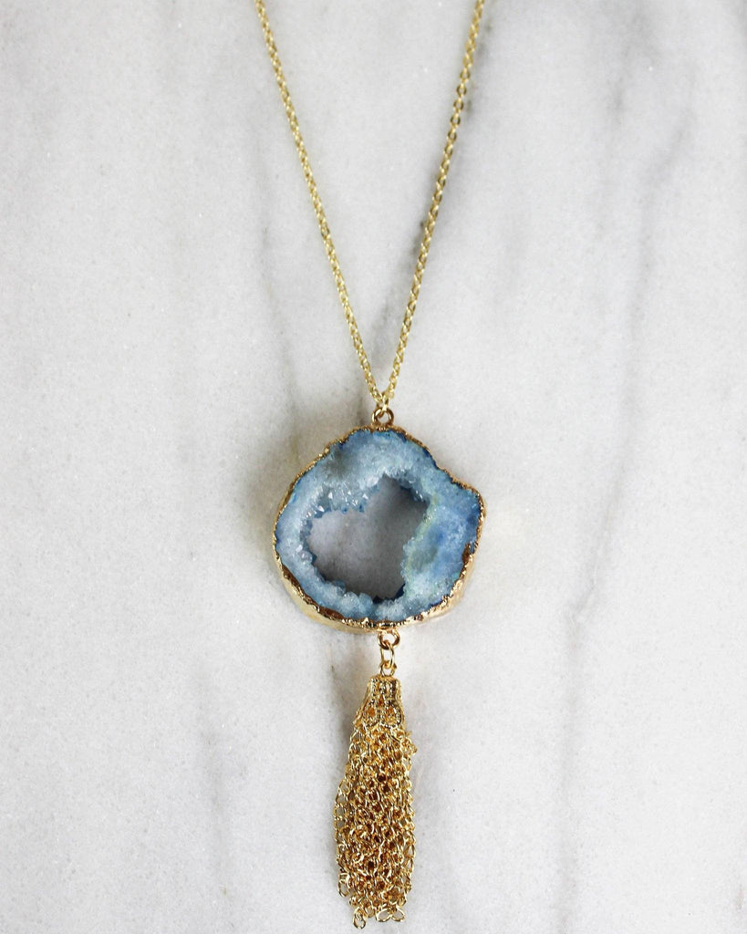 Cut Out Faux Stone Necklace With Tassels - Blue