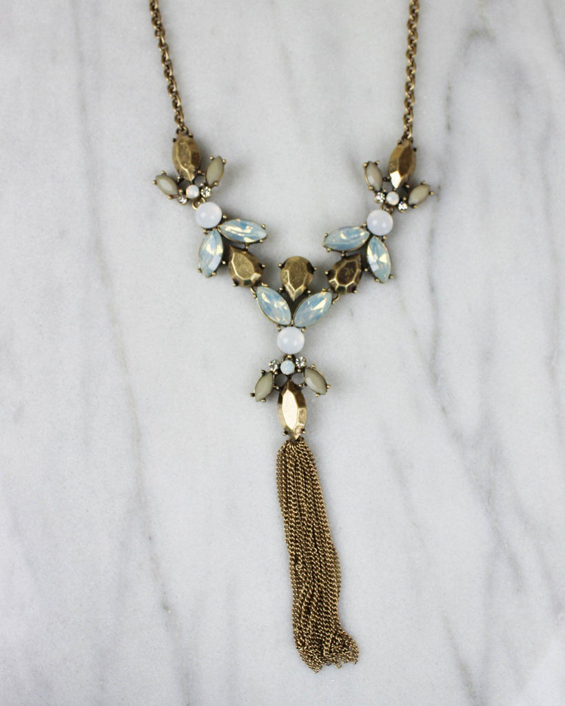 Petal Statement Necklace (Pale Blue)