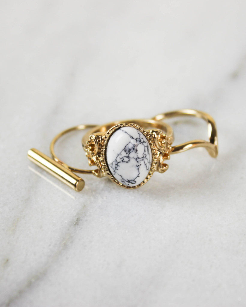 Three-Piece Romantic White Marble Ring