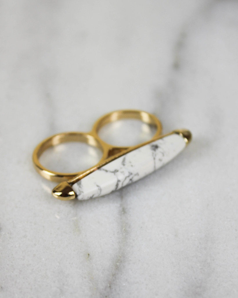 Double White Marble Bar Ring