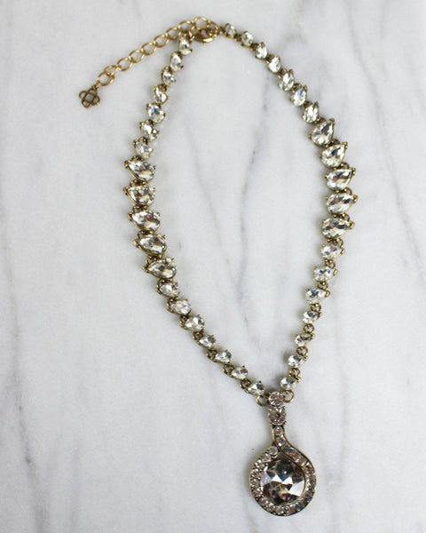 Gatsby Glass and Crystal Drop Pendant Necklace