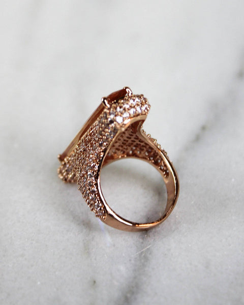 Rose Gold and Blush Rectangle Ring