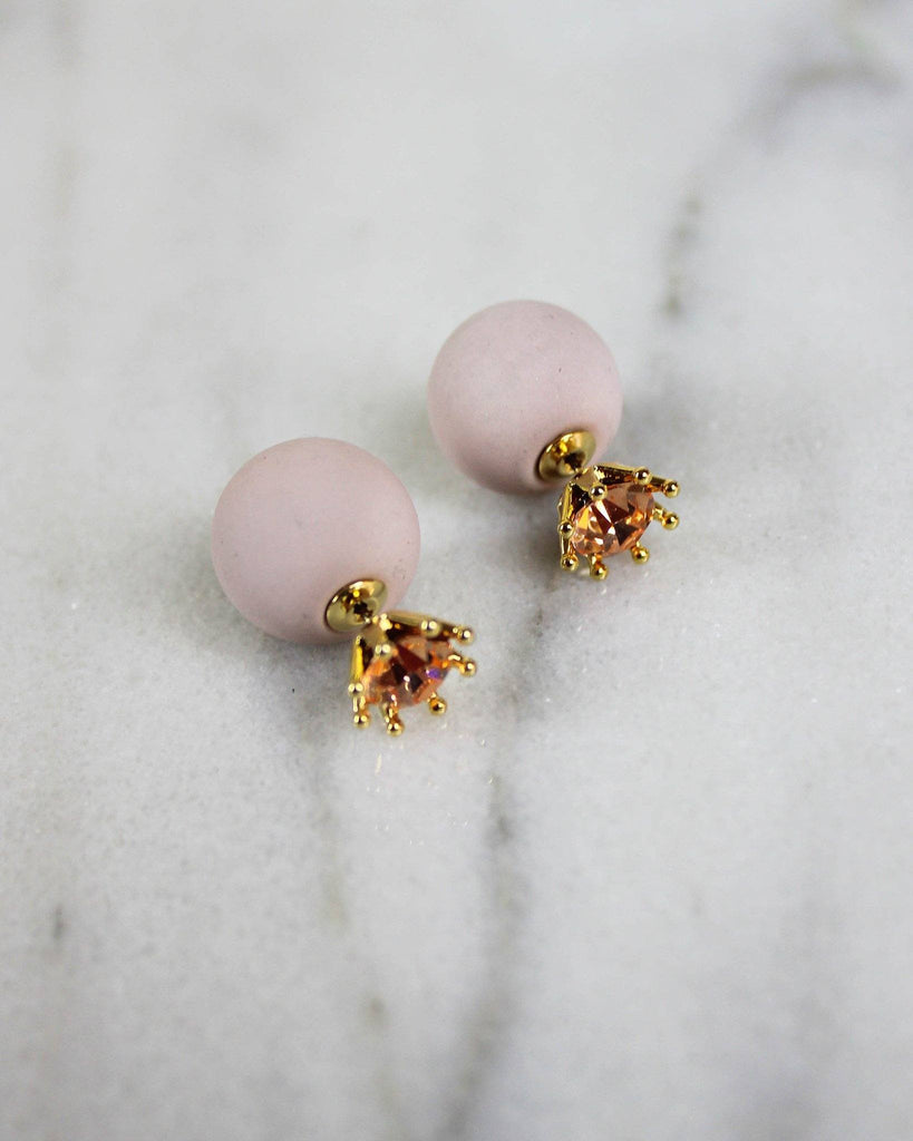 Flat Matte Ball Back Earrings with Rose Gold