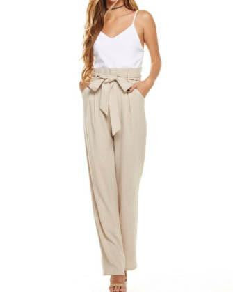 Two-Tone Jumpsuit With Tie Paper Bag Waist