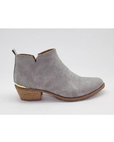 Suede Booties With Gold Detail On Back