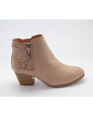 Suede Bootie With Braided Zipper Detail