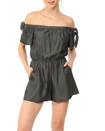 Charcoal Off-The-Shoulder Romper With Tie Sleeve Detail