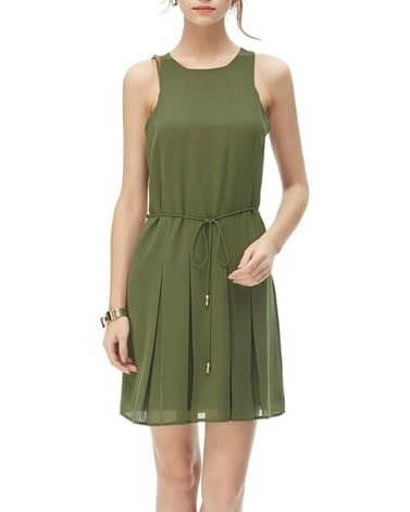 Simple Pleated Dress With Self Tie