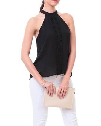 Center Front Pleat Mock Neck Blouse